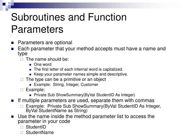 Subroutines and Function Parameters