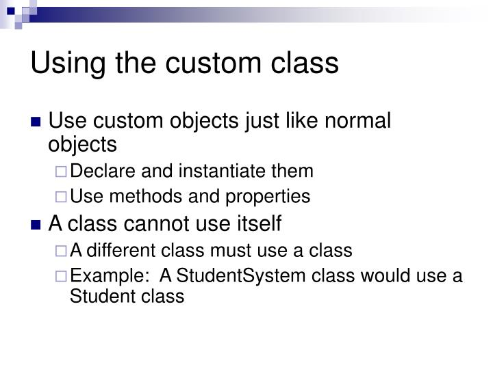 Using the custom class