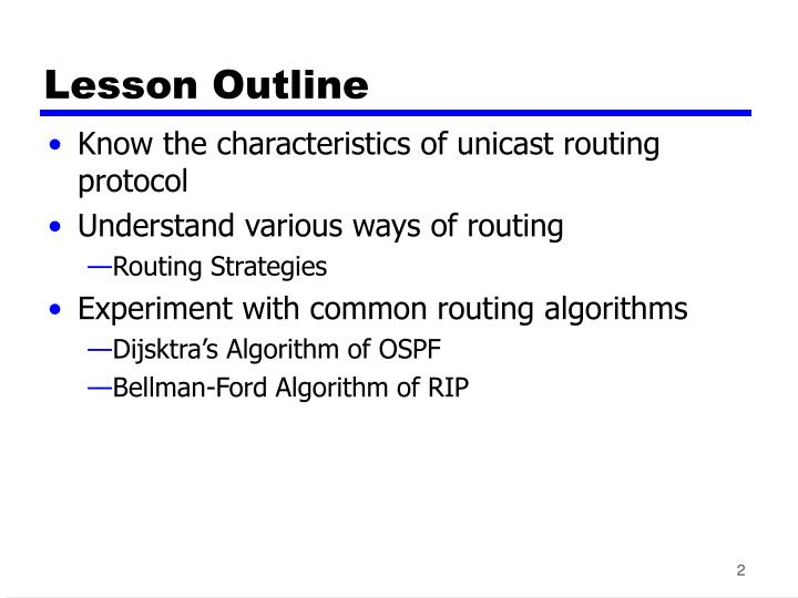 Lesson outline