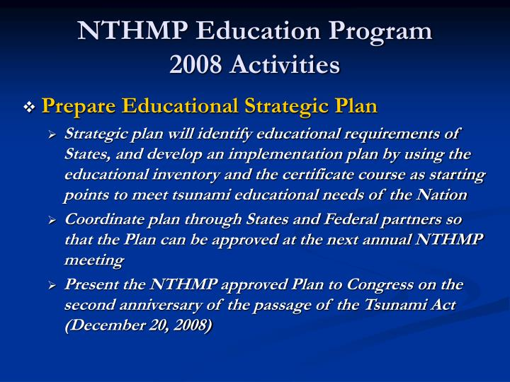 NTHMP Education Program