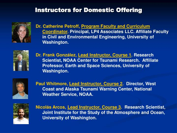 Instructors for Domestic Offering