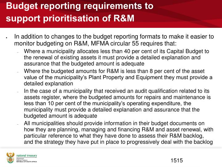 Budget reporting requirements to support prioritisation of R&M