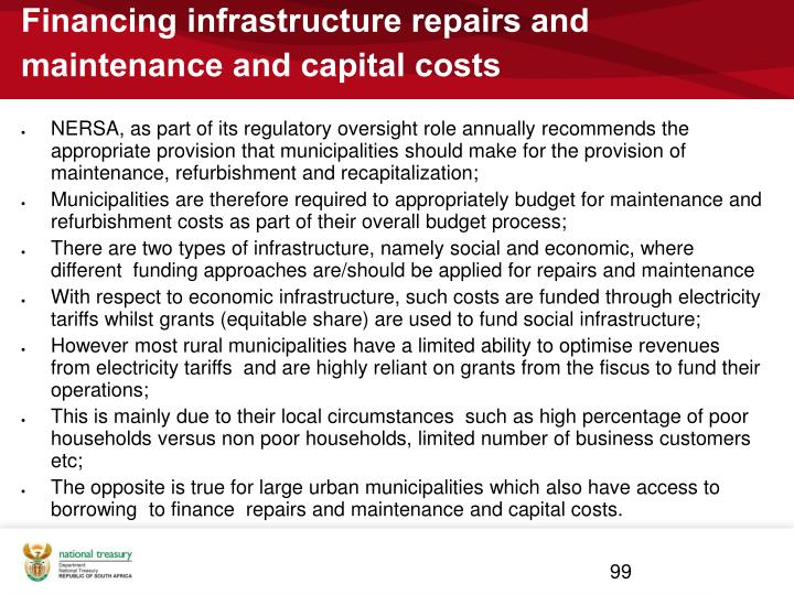 Financing infrastructure repairs and maintenance and capital costs