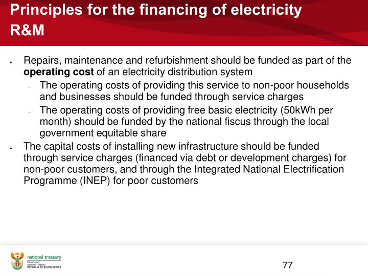 Principles for the financing of electricity R&M