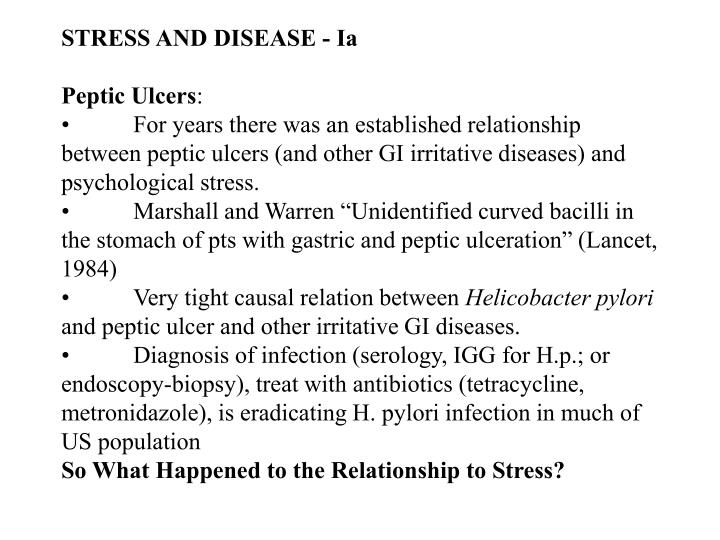 STRESS AND DISEASE - Ia