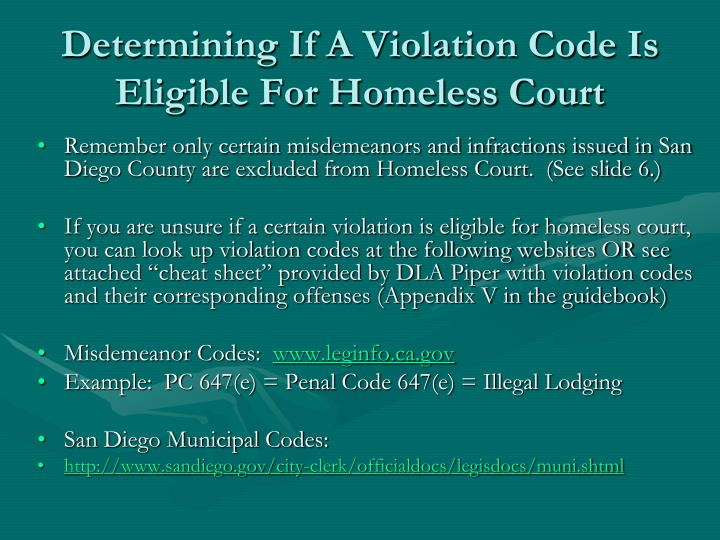 Determining If A Violation Code Is Eligible For Homeless Court