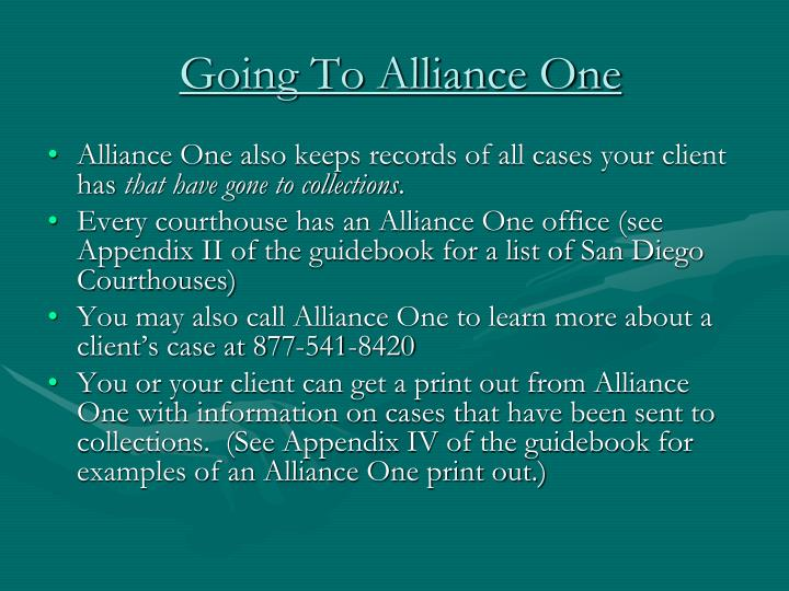 Going To Alliance One