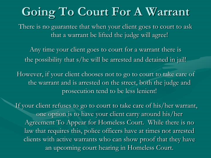 Going To Court For A Warrant
