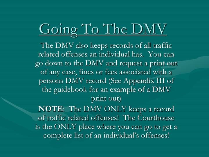 Going To The DMV