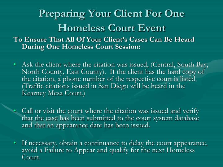 Preparing Your Client For One Homeless Court Event