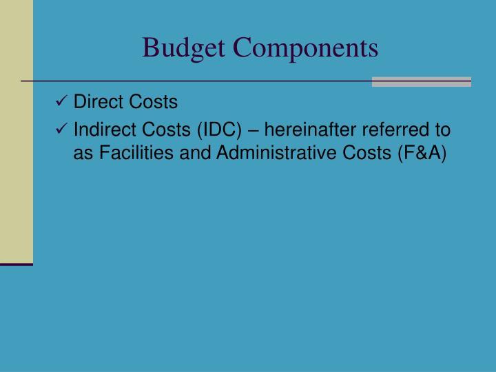 Budget Components