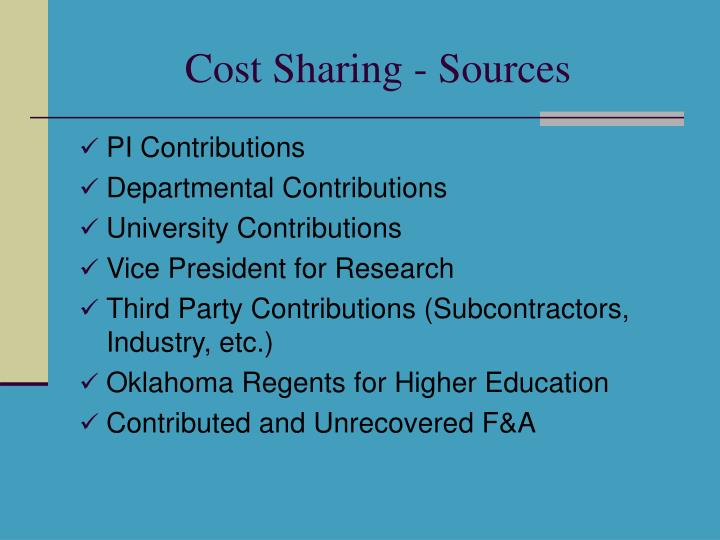 Cost Sharing - Sources