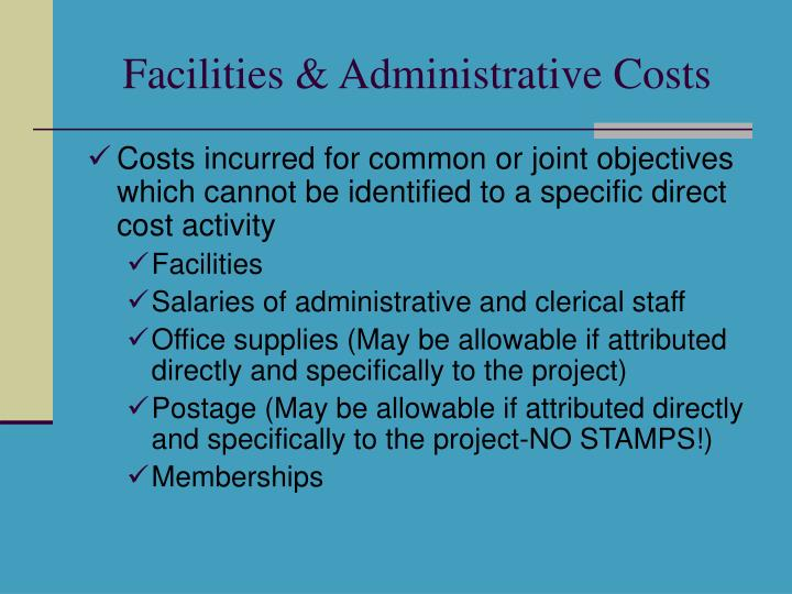 Facilities & Administrative Costs