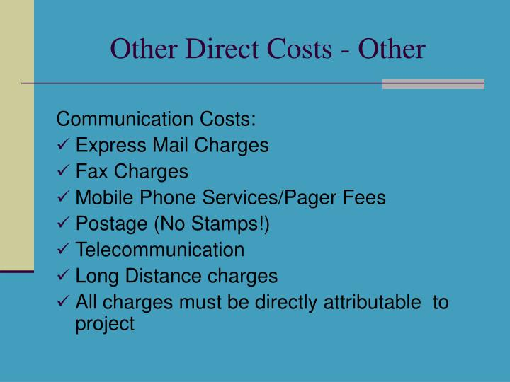Other Direct Costs - Other