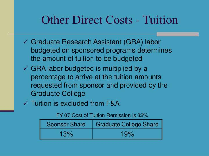 Other Direct Costs - Tuition