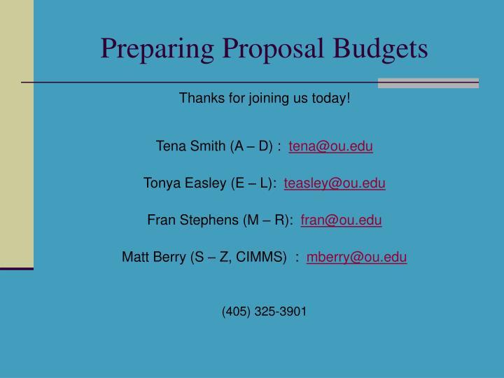Preparing Proposal Budgets
