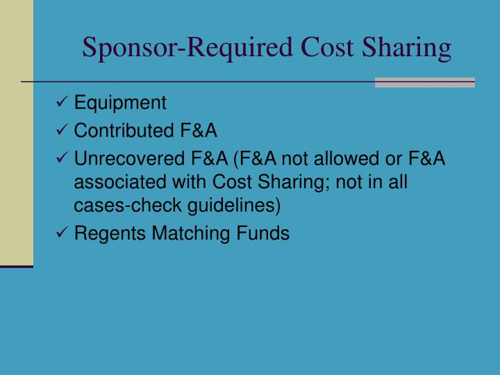 Sponsor-Required Cost Sharing