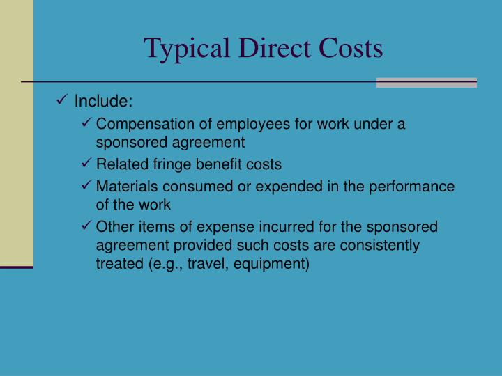 Typical Direct Costs