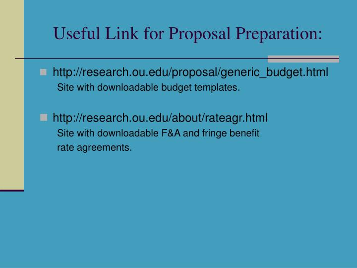 Useful Link for Proposal Preparation:
