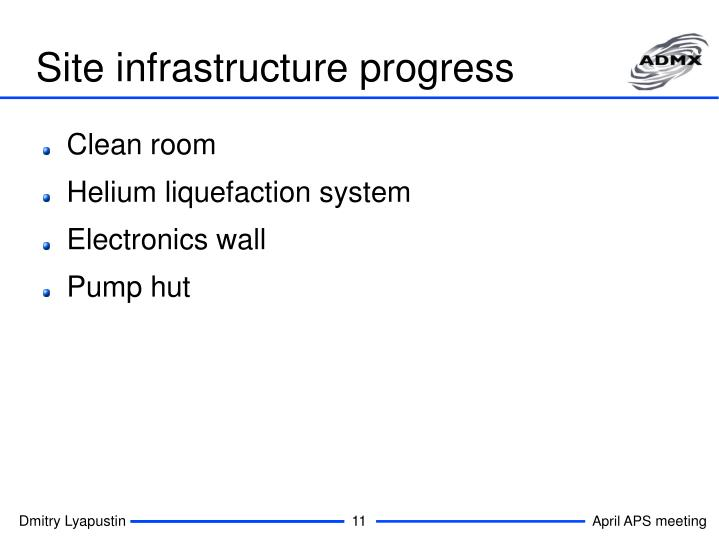 Site infrastructure progress
