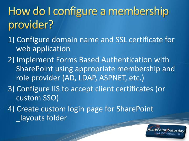 How do I configure a membership provider?