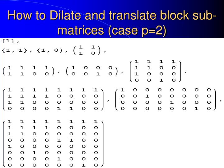 How to Dilate and translate block sub-matrices (case p=2)