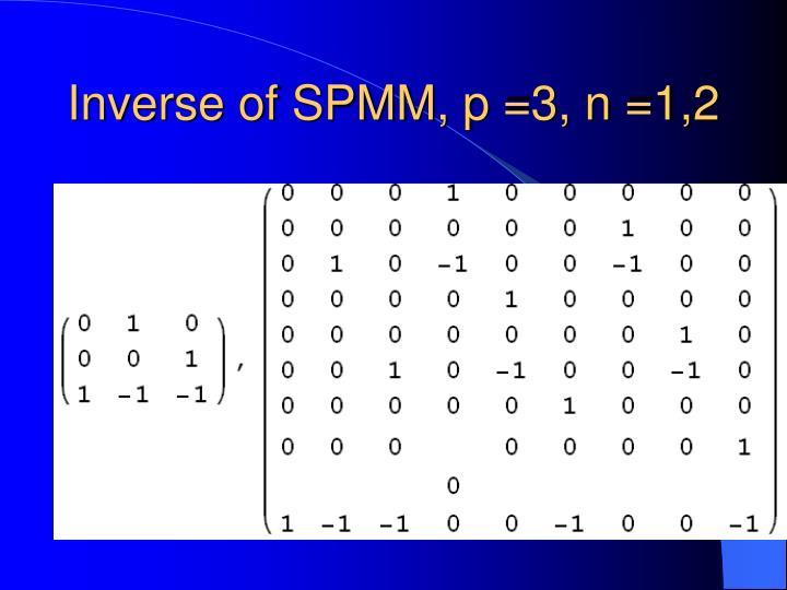 Inverse of SPMM, p =3, n =1,2