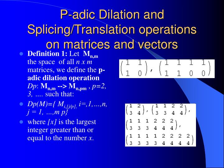 P-adic Dilation and Splicing/Translation operations on matrices and vectors