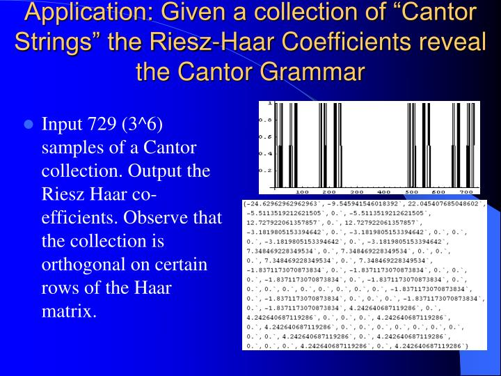 "Application: Given a collection of ""Cantor Strings"" the Riesz-Haar Coefficients reveal the Cantor Grammar"