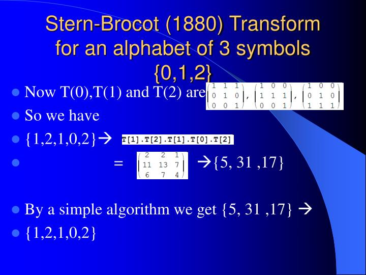 Stern-Brocot (1880) Transform for an alphabet of 3 symbols {0,1,2}