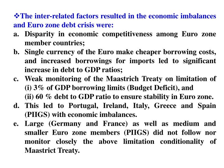 The inter-related factors resulted in the economic imbalances and Euro zone debt crisis were: