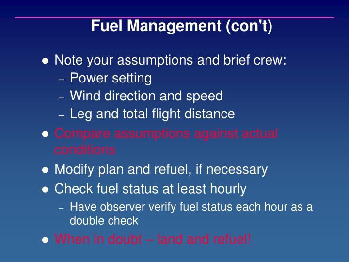 Fuel Management (con't)