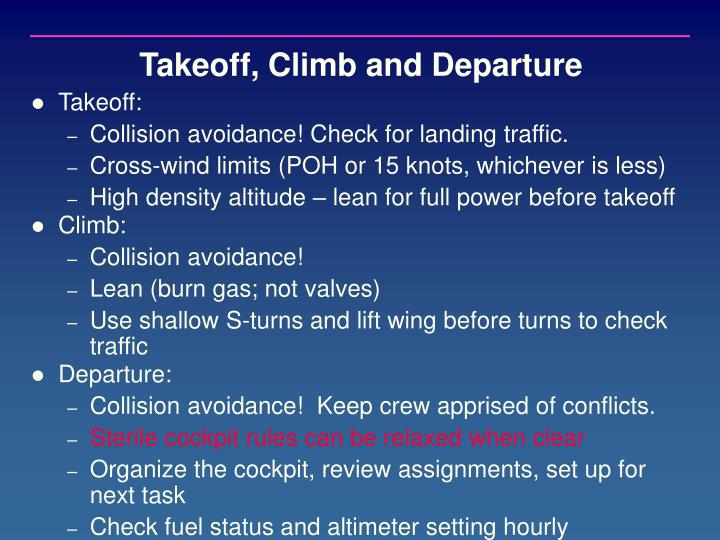 Takeoff, Climb and Departure