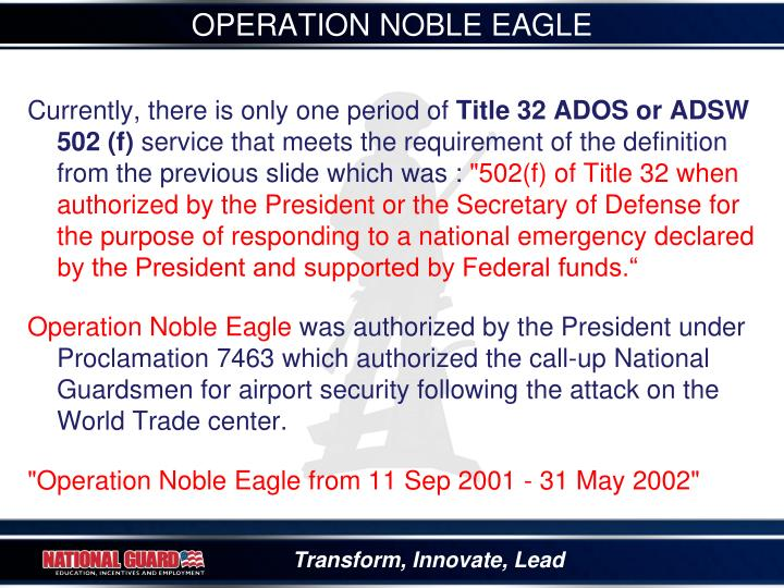 OPERATION NOBLE EAGLE