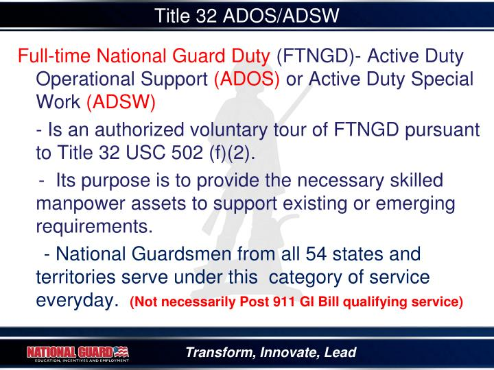 Title 32 ADOS/ADSW