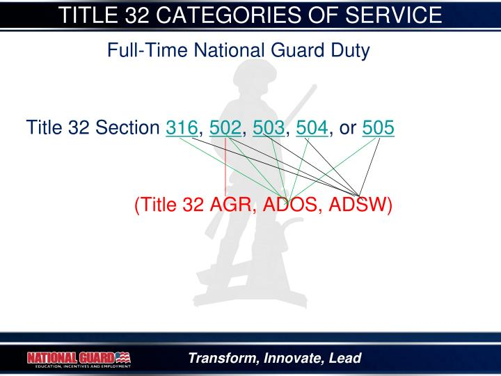 TITLE 32 CATEGORIES OF SERVICE