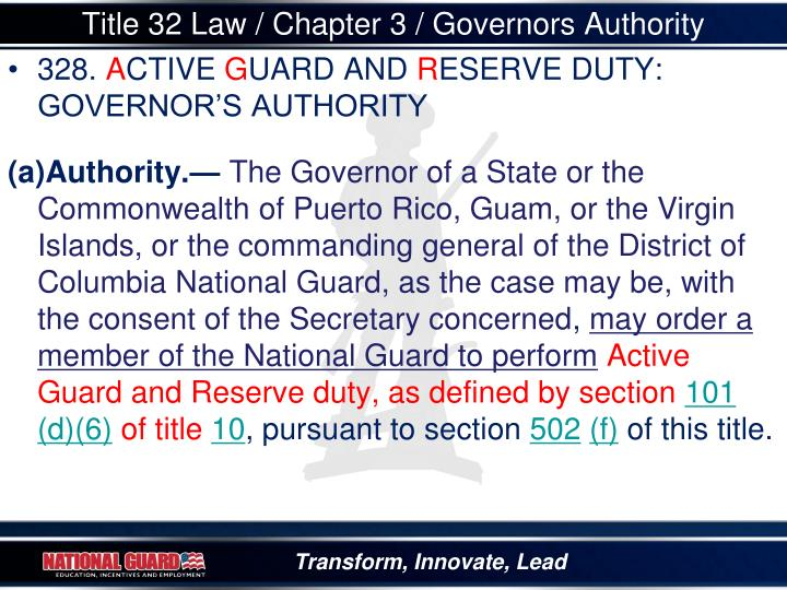 Title 32 Law / Chapter 3 / Governors Authority