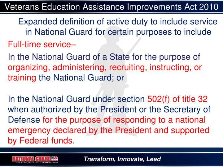 Veterans Education Assistance Improvements Act 2010