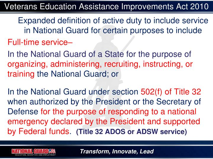 Veterans Education Assistance Improvements Act 2010