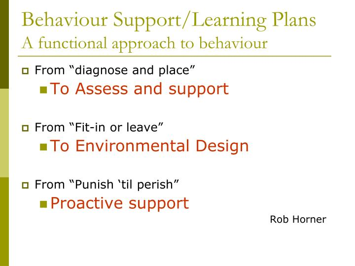 Behaviour Support/Learning Plans