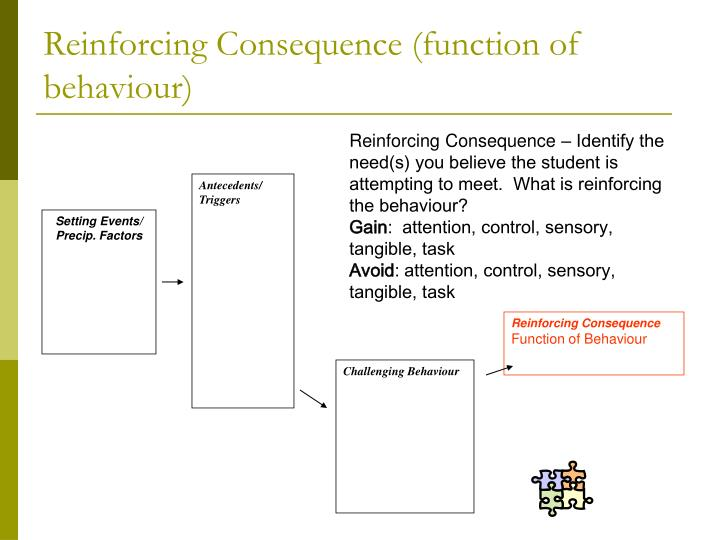 Reinforcing Consequence (function of behaviour)