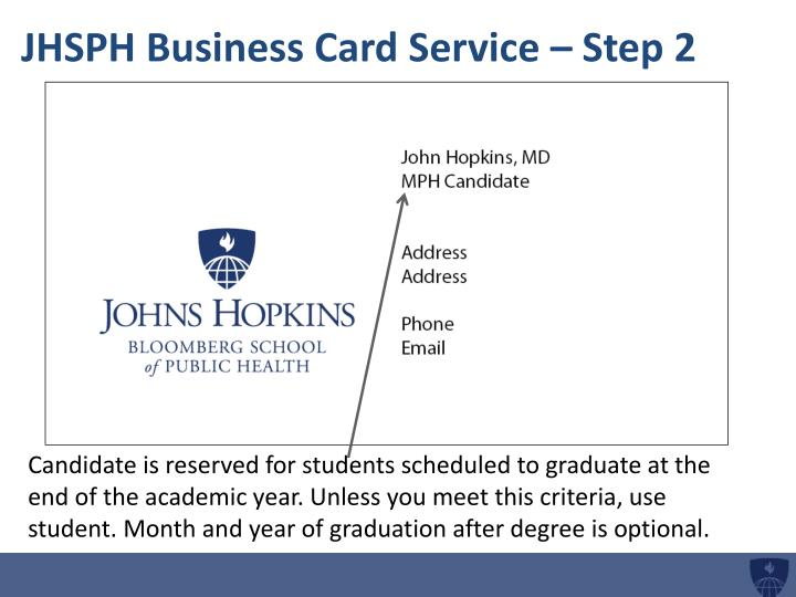 Jhsph business card service step 2