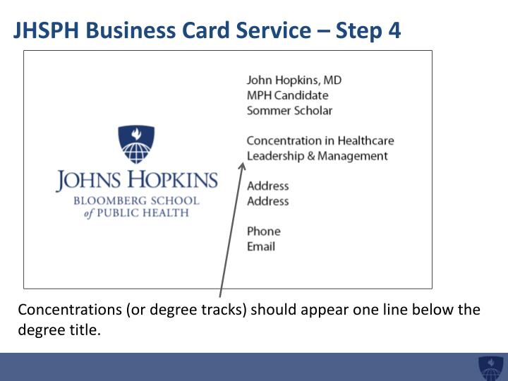 JHSPH Business Card Service – Step 4