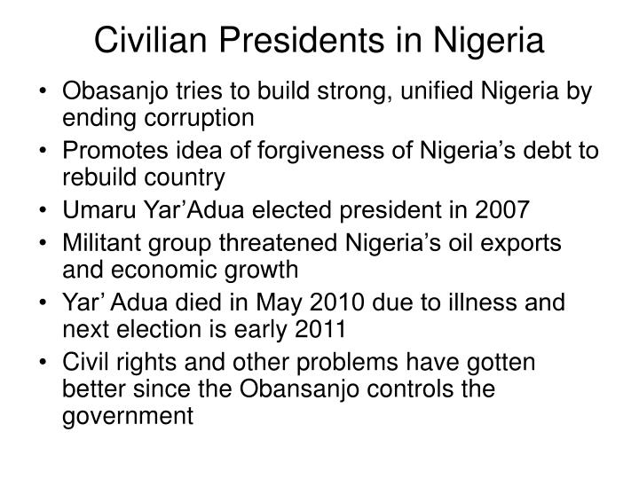 Civilian Presidents in Nigeria