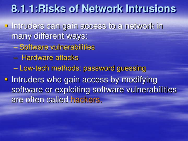 8.1.1:Risks of Network Intrusions