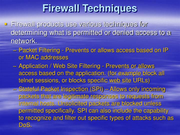 Firewall Techniques