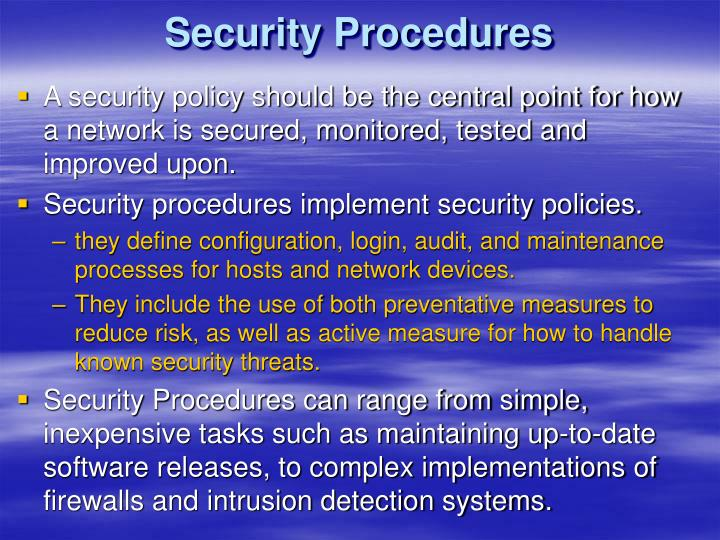 Security Procedures