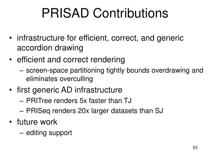 PRISAD Contributions