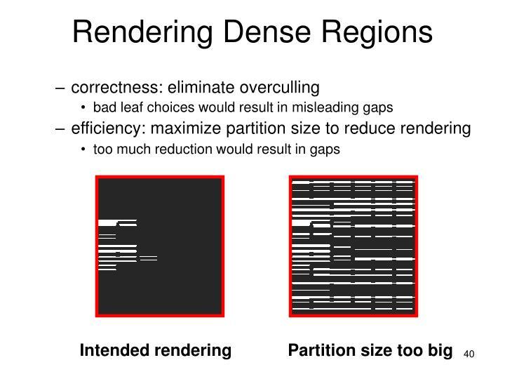 Rendering Dense Regions