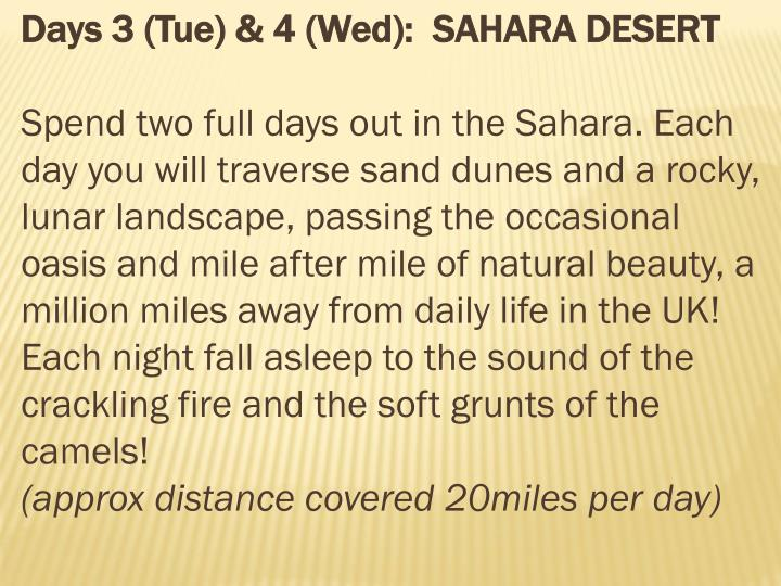 Days 3 (Tue) & 4 (Wed):  SAHARA DESERT